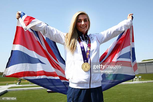 Gold medalist Amber Hill of Great Britain celebrates with the medal won in during the Women's Skeet shooting final during day eight of the Baku 2015...