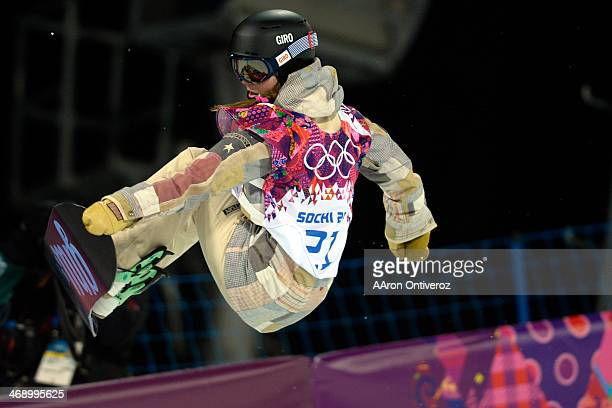 Gold medalist American Kaitlyn Farrington makes a nose grab during a women's snowboard halfpipe final at the Rosa Khutor Extreme Park. Sochi 2014...
