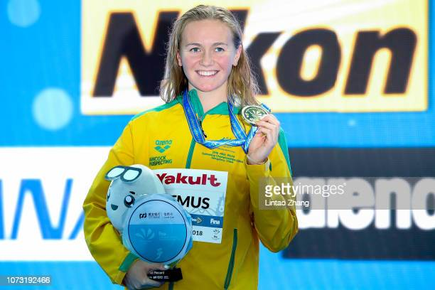 Gold medalist and new world record holder Ariarne Titmus of Australia pose during ceremonies for the women's 400m freestyle Final on day 4 of the...