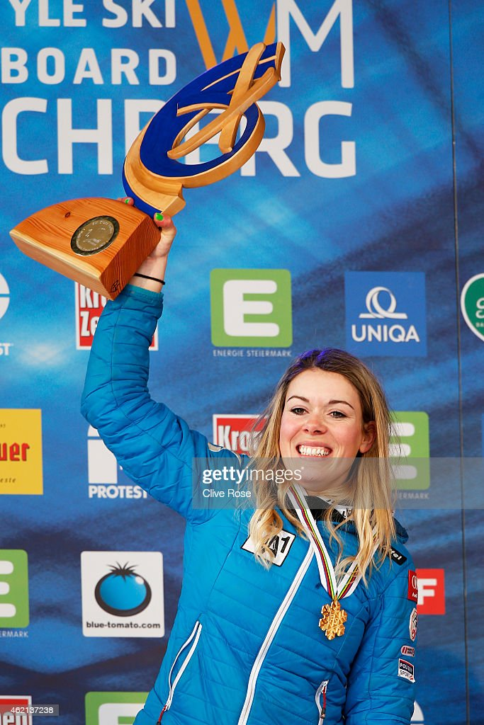 Gold medalist Andrea Limbacher of Austria celebrates after receiving the gold medal won in the Women's Ski Cross Finals during the FIS Freestyle Ski and Snowboard World Championships 2015 on January 25, 2015 in Kreischberg, Austria.