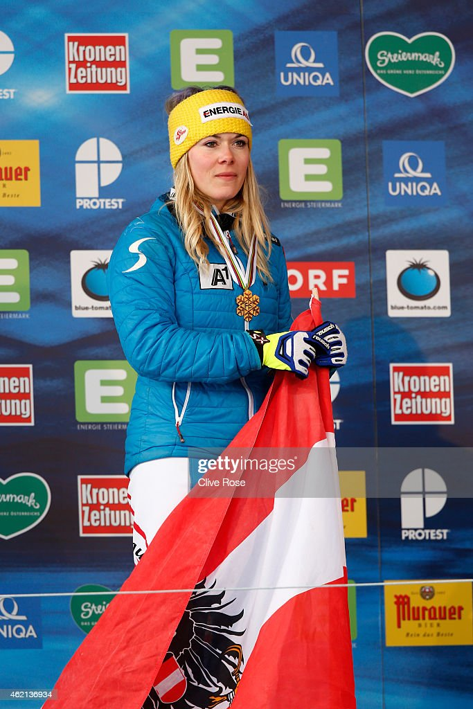 Gold medalist Andrea Limbacher of Austria celebrates her victory in the Women's Ski Cross Finals during the FIS Freestyle Ski and Snowboard World Championships 2015 on January 25, 2015 in Kreischberg, Austria.