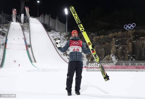 Gold medalist Andreas Wellinger of Germany celebrates after the Ski Jumping Men's Normal Hill Individual Final on day one of the PyeongChang 2018...