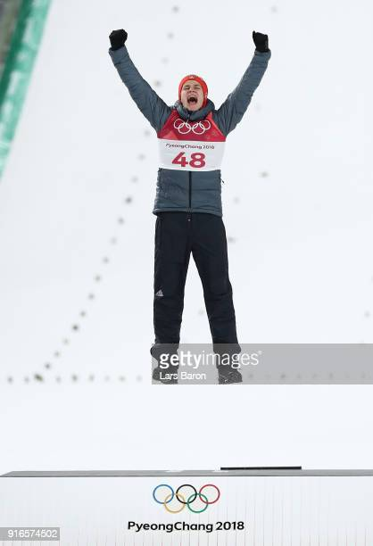 Gold medalist Andreas Wellinger of Germany celebrates during the victory ceremony for the Ski Jumping Men's Normal Hill Individual Final on day one...