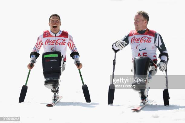 Gold medalist Andrew Kurka of USA and bronze medalist Corey Peters of New Zealand reacts after their runs during day one of the PyeongChang 2018...