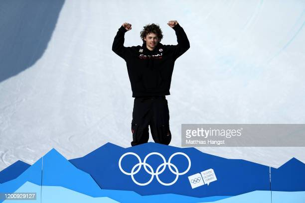 Gold medalist Andrew Longino of Canada poses for a photo during the Mascot ceremony of Men's Freeski Halfpipe in Freestyle Skiing during day 12 of...