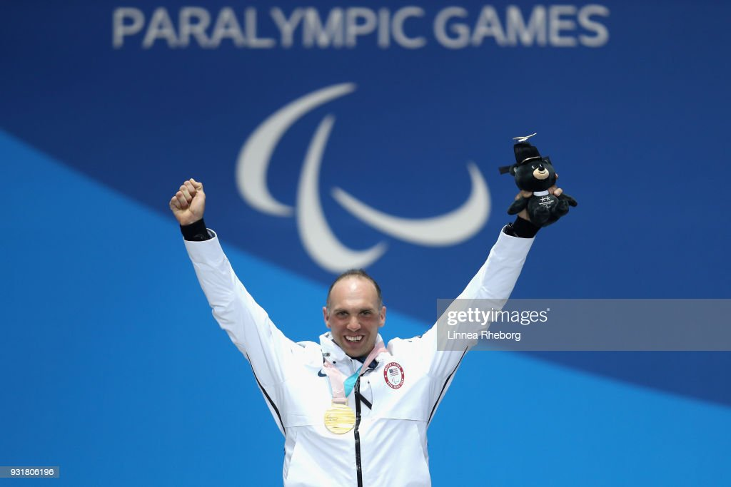 Gold medalist Andrew Soule of USA celebrates during the medal ceremony for Men's 1.1km Sprint, Sitting during day five of the PyeongChang 2018 Paralympic Games on March 14, 2018 in Pyeongchang-gun, South Korea.