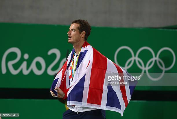 Gold medalist Andy Murray of Great Britain looks on following the men's singles on Day 9 of the Rio 2016 Olympic Games at the Olympic Tennis Centre...