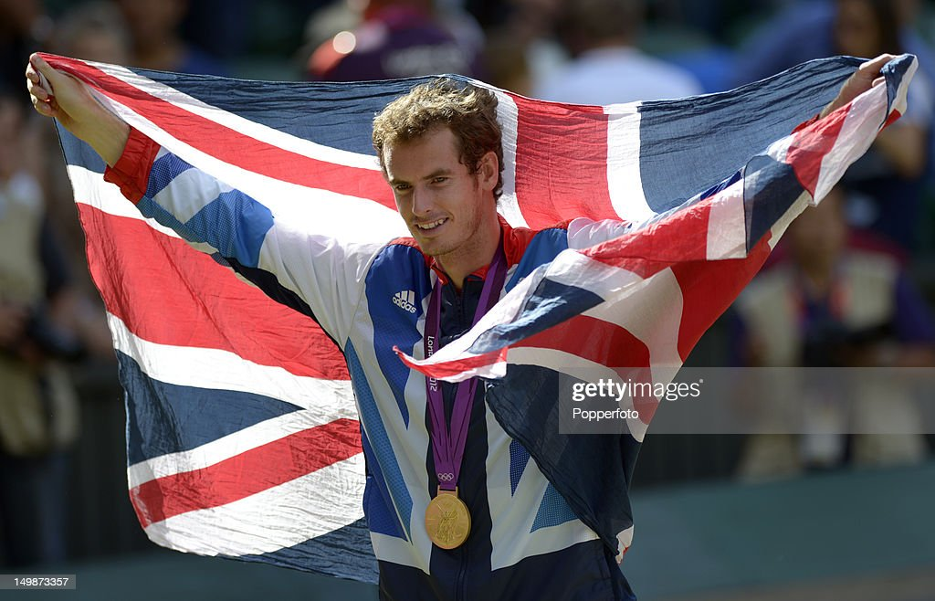 Gold medalist Andy Murray of Great Britain poses during the medal ceremony for the Men's Singles Tennis match on Day 9 of the London 2012 Olympic Games at the All England Lawn Tennis and Croquet Club on August 5, 2012 in London, England.