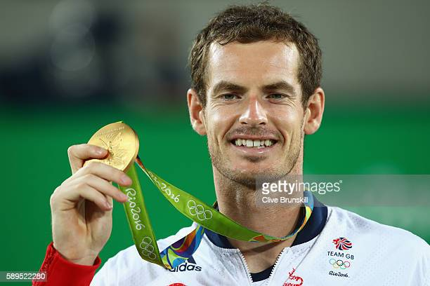 Gold medalist Andy Murray of Great Britain poses on the podium during the medal ceremony for the men's singles on Day 9 of the Rio 2016 Olympic Games...