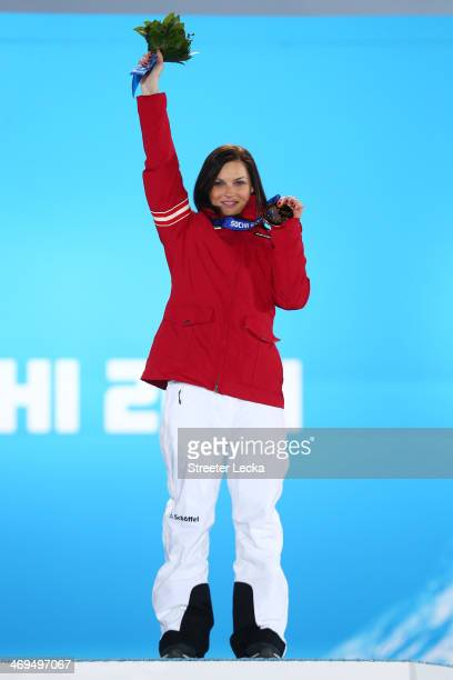 Gold medalist Anna Fenninger of Austria celebrates on the podium during the medal ceremony for the Alpine Skiing Ladies' Super-G on day 8 of the...