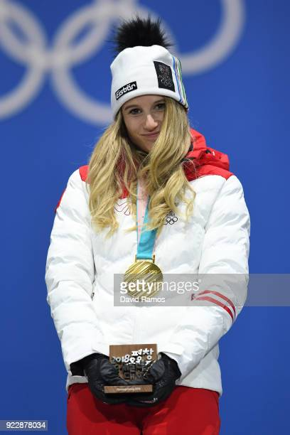 Gold medalist Anna Gasser of Austria celebrates during the medal ceremony for Snowboard Ladies' Big Air on day 13 of the PyeongChang 2018 Winter...