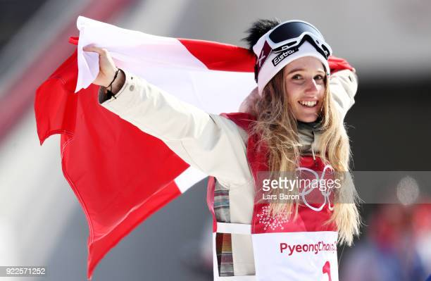 Gold medalist Anna Gasser of Austria celebrates during the victory ceremony after the Snowboard Ladies' Big Air Final on day 13 of the PyeongChang...