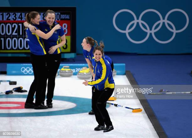 Gold medalist Anna Hasselborg of Sweden celebrates following the Women's Gold Medal Game between Sweden and Korea on day sixteen of the PyeongChang...