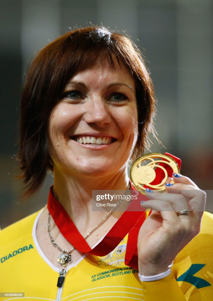 Gold medalist Anna Meares of Australia celebrates on the podium after winning in the Women's 500m Time Trial at Sir Chris Hoy Velodrome during day one of the Glasgow 2014 Commonwealth Games on July 24, 2014 in Glasgow, Scotland.