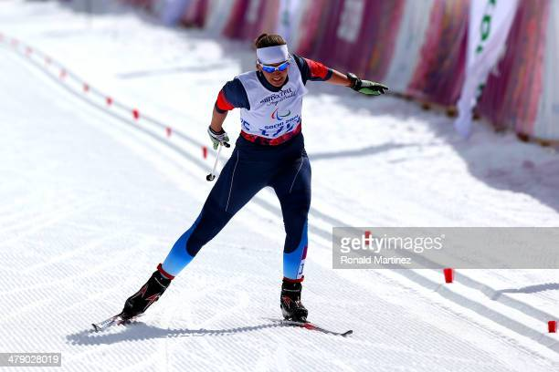 Gold medalist Anna Milenina of Russia drives for the finish line in the Women's Cross Country 5km Free – Standing on day nine of the Sochi 2014...