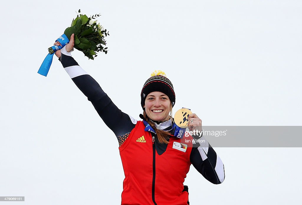 Gold medalist Anna Schaffelhuber of Germany celebrates during the medal ceremony for the Women's Giant Slalom Sitting during day nine of the Sochi 2014 Paralympic Winter Games at Rosa Khutor Alpine Center on March 16, 2014 in Sochi, Russia.