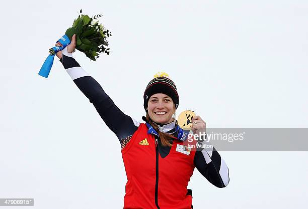Gold medalist Anna Schaffelhuber of Germany celebrates during the medal ceremony for the Women's Giant Slalom Sitting during day nine of the Sochi...