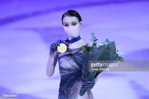 Gold medalist Anna Shcherbakova of Figure Skating Federation of Russia poses for a photo during the medal ceremony for Ladies Short Program and Free...