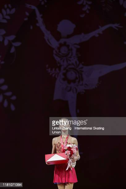 Gold medalist Anna Shcherbakova of Russia celebrates during the victory ceremony of the Ladies Free Skating during the ISU Grand Prix of Figure...