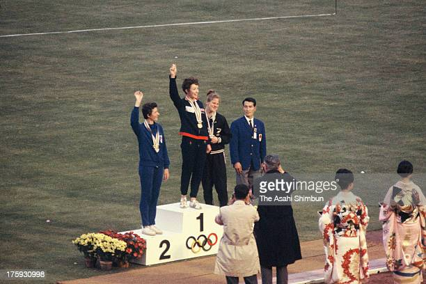 Gold Medalist Anne Packer of Great Britain Silver Medalist Maryvonne Dupureur of France and Bronze Medalist Ann Chamberlain of New Zealand celebrate...