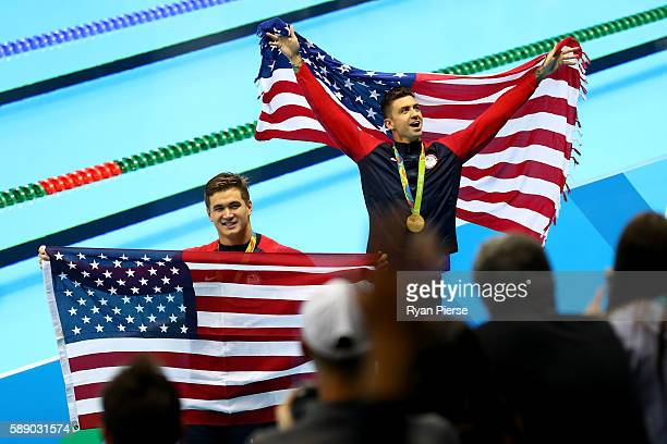 Gold medalist Anthony Ervin and bronze medalist Nathan Adrian of the United States celebrate during the medal ceremony in the Men's 50m Freestyle...