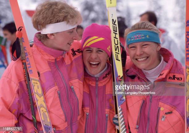 Gold medalist Antje Misersky poses with fellow German's Uschi Disl and Petra Schaaf after the women's 15 kilometre individual biathlon event during...