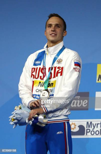Gold medalist Anton Chupkov of Russia poses with the medal won during the Men's 200m Breaststroke final on day fifteen of the Budapest 2017 FINA...
