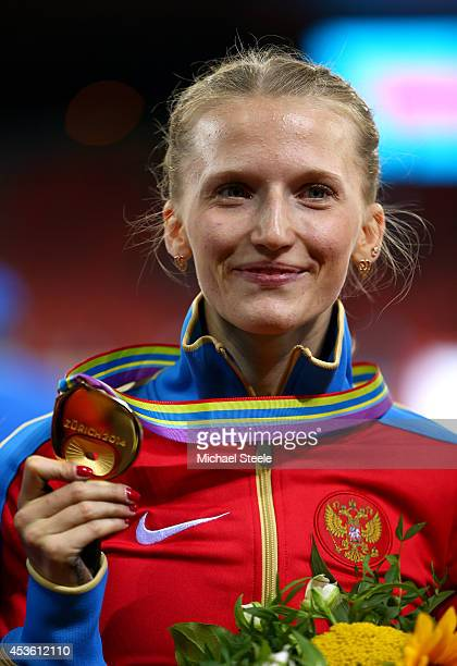 Gold medalist Anzhelika Sidorova of Russia poses with her medal during the medal ceremony for the Women's Pole Vault final during day three of the...