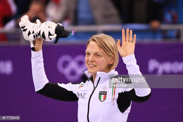 Gold medalist Arianna Fontana of Italy celebrates during the victory ceremony after the Ladies' 500m Short Track Speed Skating final on day four of...