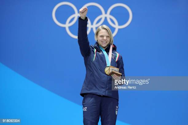Gold medalist Arianna Fontana of Italy poses during the medal ceremony for the Ladies' 500m Short Track Speed Skating on day five of the PyeongChang...