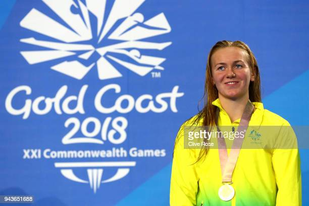 Gold medalist Ariarne Titmus of Australia poses during the medal ceremony for the Women's 800m Freestyle Final on day five of the Gold Coast 2018...