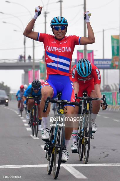 Gold medalist Arlenis Sierra of Cuba celebrates after winning the Road Race Women Finals on Day 15 of Lima 2019 Pan American Games at San Miguel...
