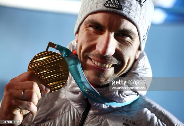 Gold medalist Arnd Peiffer of Germany poses during the medal ceremony for the Men's 10km Sprint Biathlon on day four of the PyeongChang 2018 Winter...