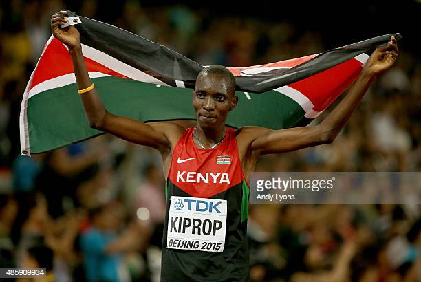 Gold medalist Asbel Kiprop of Kenya celebrates after the Men's 1500 metres final during day nine of the 15th IAAF World Athletics Championships...
