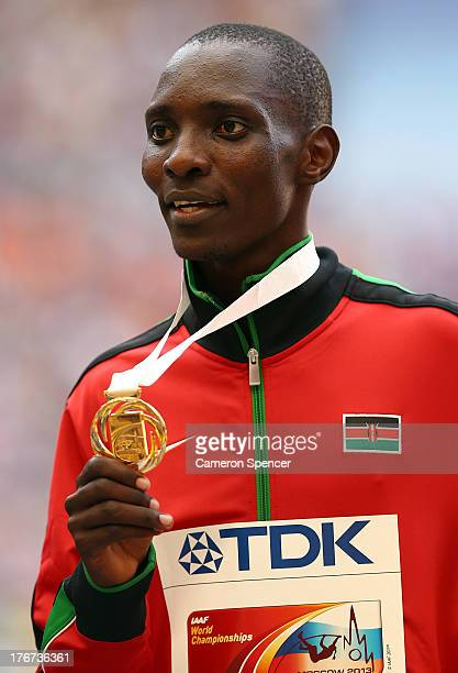 Gold medalist Asbel Kiprop of Kenya on the podium during the medal ceremony for the Men's 1500 metres during Day Nine of the 14th IAAF World...