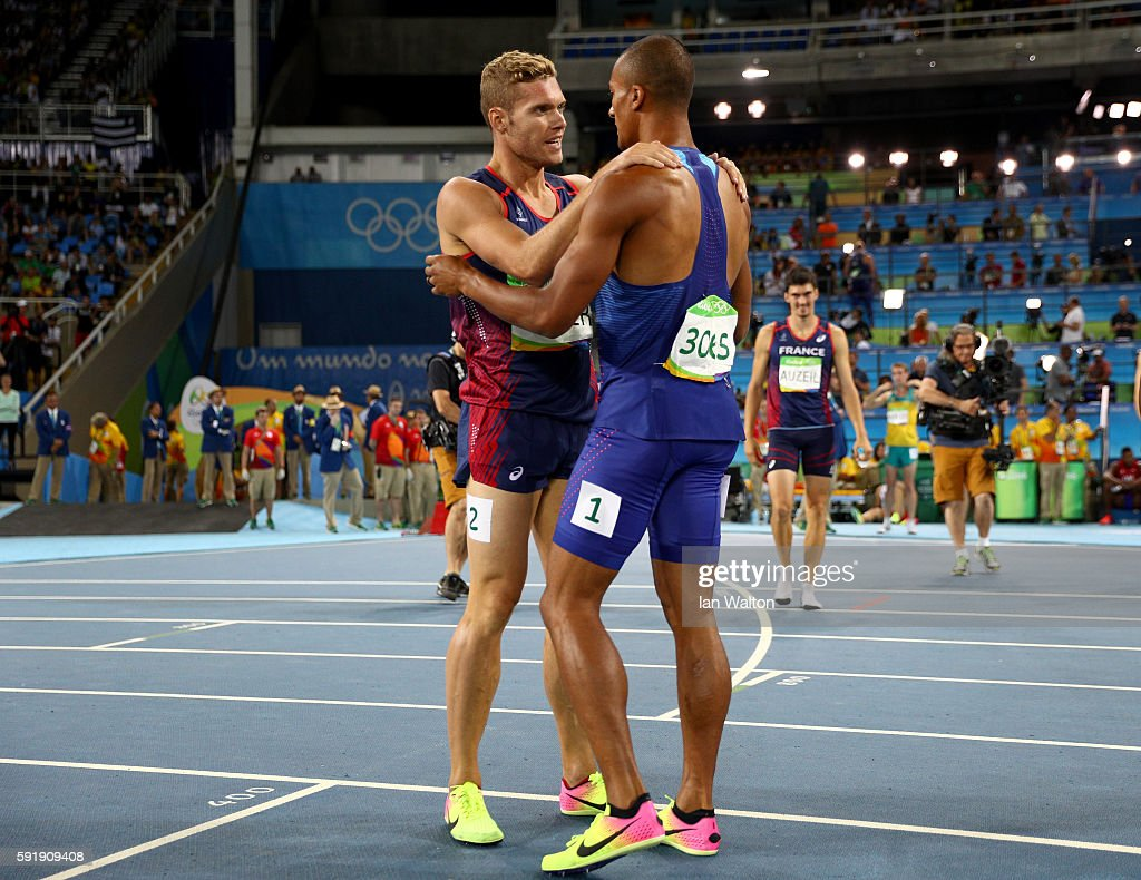 Gold medalist, Ashton Eaton of the United States celebrates with silver medalist Kevin Mayer of France reacts after the Men's Decathlon 1500m on Day 13 of the Rio 2016 Olympic Games at the Olympic Stadium on August 18, 2016 in Rio de Janeiro, Brazil.