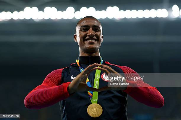 Gold medalist Ashton Eaton of the United States poses on the podium during the medal ceremony for the Men's Decathlon on Day 14 of the Rio 2016...