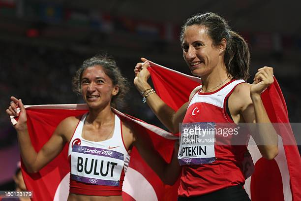 Gold medalist Asli Cakir Alptekin of Turkey celebrates with silver medalist Gamze Bulut of Turkey after the Women's 1500m Final on Day 14 of the...