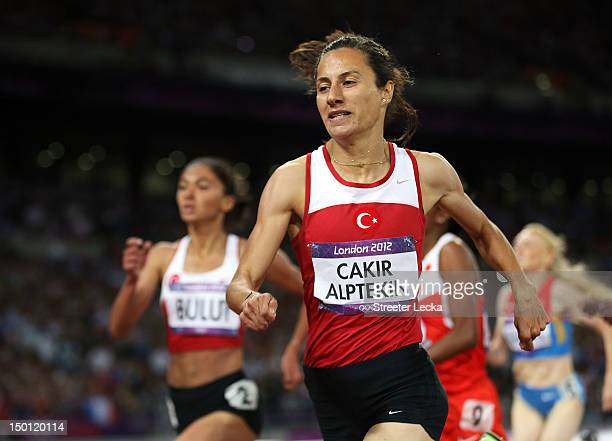 Gold medalist Asli Cakir Alptekin of Turkey crosses the finish line during the Women's 1500m Final on Day 14 of the London 2012 Olympic Games at...