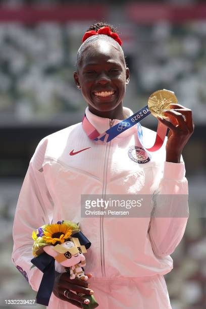 Gold medalist Athing Mu of Team United States poses during the medal ceremony for the Women's 800m Final on day twelve of the Tokyo 2020 Olympic...