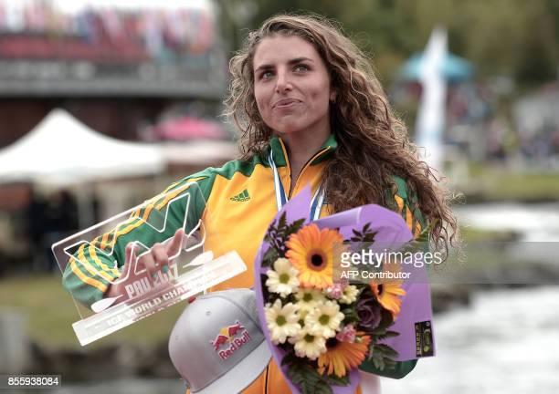 Gold medalist Australia's Jessica Fox reacts on the podium of the Kayak Women Final event of the World CanoeKayaking World Championshipson September...