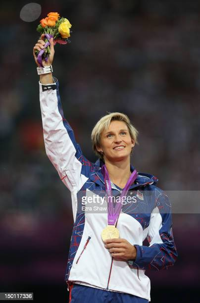 Gold medalist Barbora Spotakova of Czech Republic poses on the podium during the medal ceremony for the Women's Javelin Throw on Day 14 of the London...