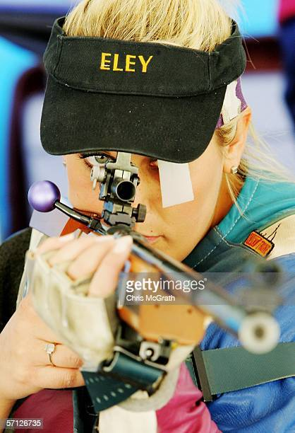 Gold Medalist, Becky Spicer of England poses after winning the Women's 50m Rifle 3 Positions Pairs Final at the Melbourne International Shooting Club...