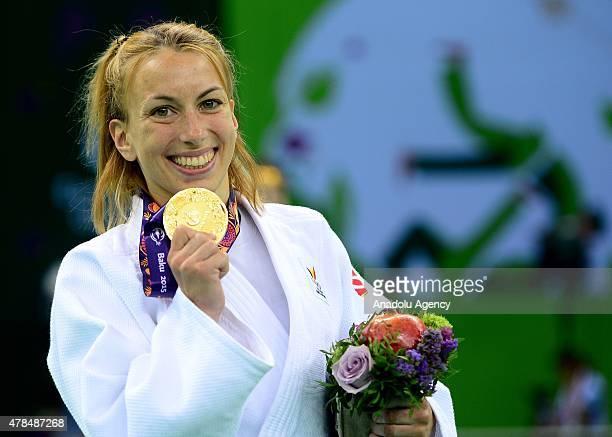 Gold medalist Belgium's Charline van Snick poses after their women's 48kg judo final match with Turkey's Ebru Sahin at the Baku 2015 European Games...