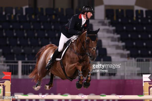 Gold medalist Ben Maher of Team Great Britain riding Explosion W during the Jumping Individual Final on day twelve of the Tokyo 2020 Olympic Games at...