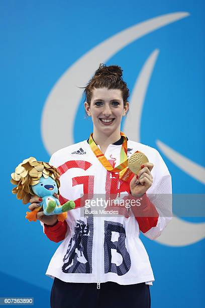 Gold medalist Bethany Firth of Great Britain celebrates on the podium at the medal ceremony for Women's 200m Individual Medley SM14 Final on day 10...