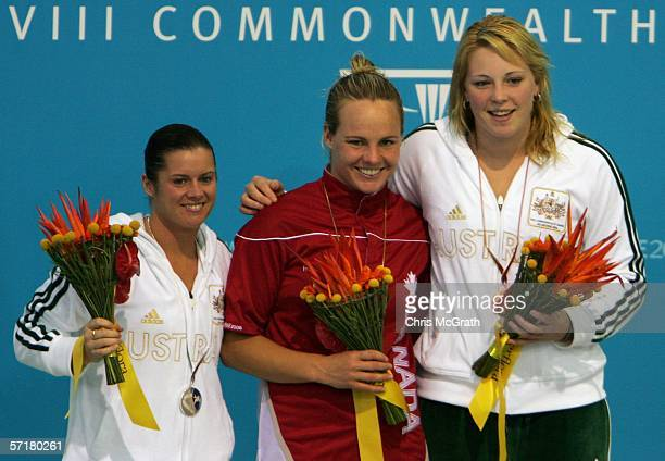 Gold medalist Blythe Hartley of Canada poses with fellow medalists Kathryn Blackshaw of Australia and Chantelle Newbery of Australia in the Women's...