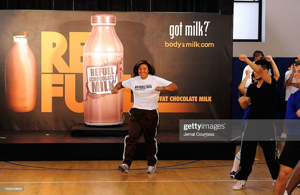 Gold medalist bobsledder Elana Meyers launches the Refuel America Program and unveils the newest Milk Mustache ads at the 92nd Street Y on August 11, 2010 in New York City. Gold medalists Chris Bosh, Apolo Anton Ohno and Shawn Johnson teamed up today to announce a new campaign highlighting the importance of refueling with lowfat chocolate milk during the two-hour recovery window after exercise.