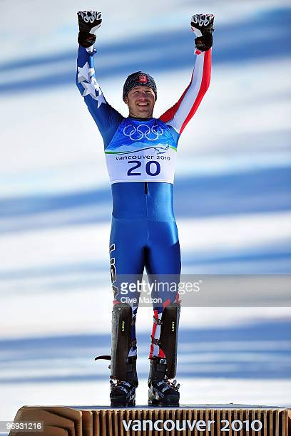 Gold medalist Bode Miller of the United States celebrates after the Alpine Skiing Men's Super Combined Slalom on day 10 of the Vancouver 2010 Winter...