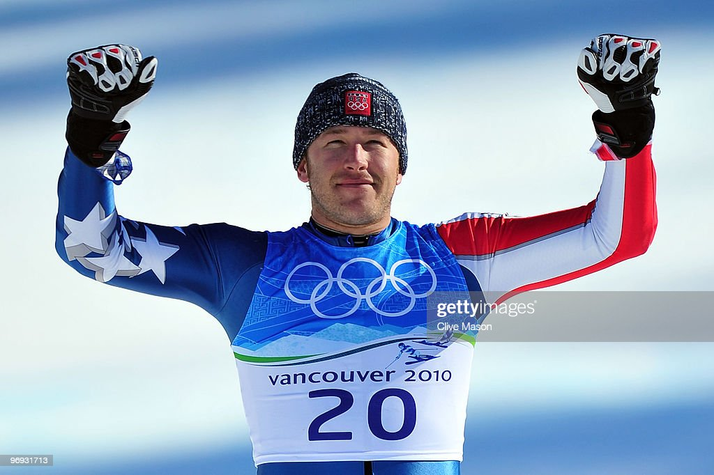 Gold medalist Bode Miller of the United States celebrates after the Alpine Skiing Men's Super Combined Slalom on day 10 of the Vancouver 2010 Winter Olympics at Whistler Creekside on February 21, 2010 in Whistler, Canada.
